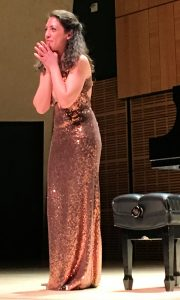 Beatrice Rana on stage at her Carnegie debut